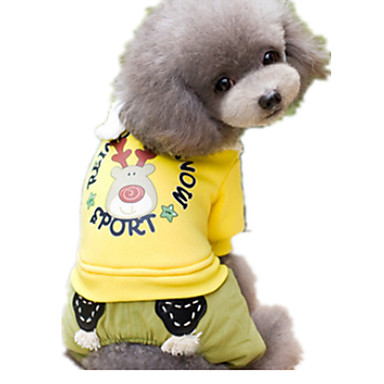 Pies Kombinezon Ubrania dla psów Urocza Rysunek Yellow Green