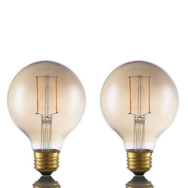 E26 LED필라멘트 전구 G80 2 LED가 COB 밝기조절가능 엠버 180lm 2200K AC 110-130V