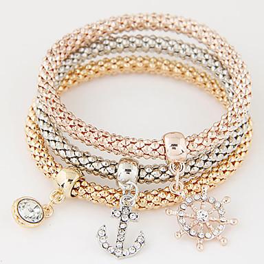 Női Elbűvölő karkötők Luxus Többrétegű Divat minimalista stílusú Európai Strassz Hamis gyémánt Ötvözet Horgony Ékszerek Ajándék Napi