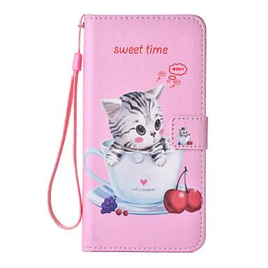tok Για Apple Θήκη iPhone 5 iPhone 6 iPhone 7 Θήκη καρτών Πορτοφόλι Ανοιγόμενη Με σχέδια Πλήρης Θήκη Γάτα Σκληρή PU δέρμα για iPhone 7