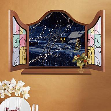 Eläimet Joulu Piirretty Wall Tarrat 3D-seinätarrat Peilitarrat Koriste-seinätarrat,Paperi materiaali Irroitettava Siirrettävä