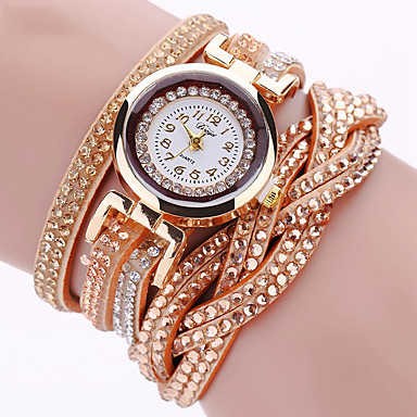 Women's Quartz Wrist Watch / Bracelet Watch Imitation Diamond / Punk / Cool PU Band Charm / Sparkle / Vintage / Casual / Eiffel Tower /