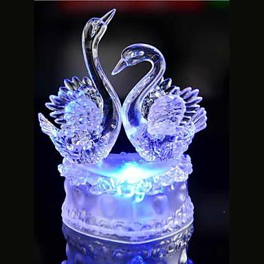 led kristály két hattyú színes dekoráció légkör lámpa újdonság megvilágítás fény