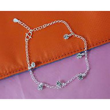 Kadın Ayak bileziği/Bilezikler Gümüş Kaplama Simüle Elmas Moda Mücevher Uyumluluk Düğün Parti Günlük