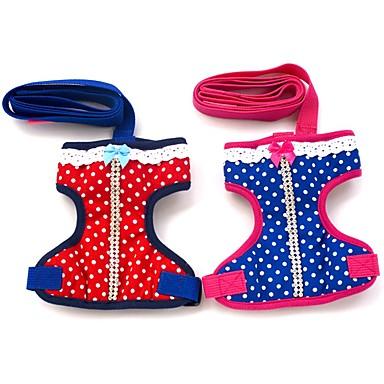 القطط / الكلاب أربطة / المقاود الأمان / ناعم / ركض / Vest / عادية البولكا النقاط أحمر / أزرق قماش