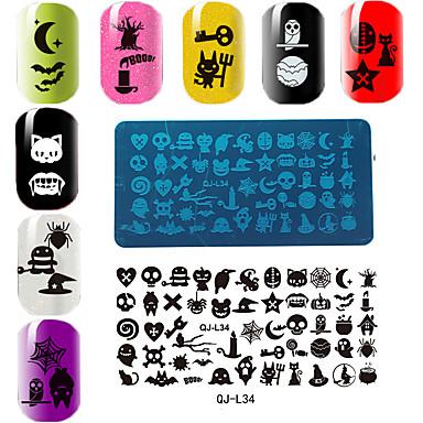 rechthoekige plaat manicure printing template halloween-serie