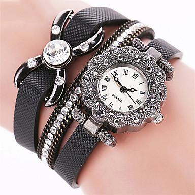 Kadın's Bilek Saati Bilezik Saat Elbise Saat Moda Saat Quartz Renkli Punk PU Bant İhtişam Işıltılı Vintage Şeker Günlük Kelebek Bohem