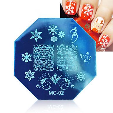 1pcs kerst nail art stempelen afbeelding template platen met stempel