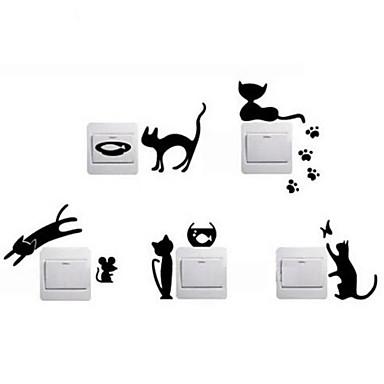 Hayvanlar Duvar Etiketler Uçak Duvar Çıkartmaları Dekoratif Duvar Çıkartmaları Işık Düğmesi Çıkartmaları, Vinil Ev dekorasyonu Duvar