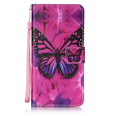 Varten Lomapkko / Korttikotelo / Tuella / Flip Etui Takakuori Etui Perhonen Kova Tekonahka varten AppleiPhone 7 Plus / iPhone 7 / iPhone