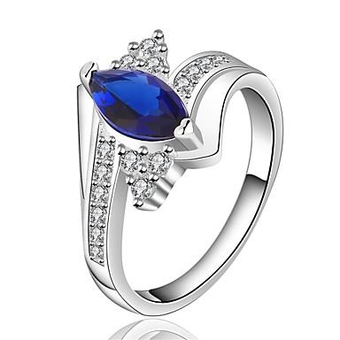 Gyűrűk Esküvő / Parti / Napi / Hétköznapi Ékszerek Drágakő / Réz Női Gyűrű 1db,7 / 8 réz / Kameo kék / Ezüst