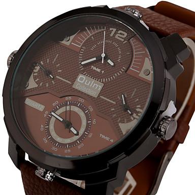 0a4db724788 Homens Relógio Esportivo Relógio Militar Relógio de Pulso Quartzo Couro  Preta   Marrom Três Fusos Horários