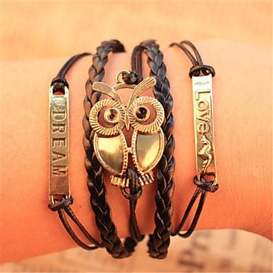 Men's Women's Leather Chain Bracelet Leather Bracelet Vintage Bracelet Wrap Bracelet - Inspirational Owl Bracelet For Christmas Gifts