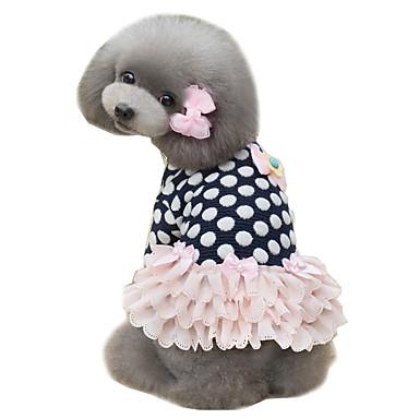 강아지 드레스 강아지 의류 도트무늬 다크 블루 핑크 면 코스츔 애완 동물 여성용 귀여운