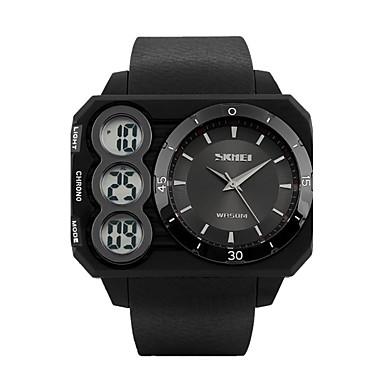 Heren Sporthorloge Digitaal horloge Digitaal LCD Kalender Chronograaf Waterbestendig Dubbele tijdzones Sporthorloge PU Band