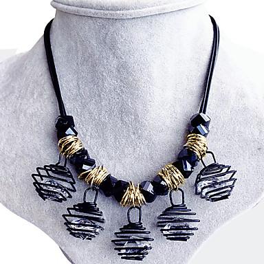 Naisten Obsidiaani Zirkoni Collar  -  Uniikki Vintage Viktoriaaninen Neliö Geometric Shape Musta Kaulakorut Käyttötarkoitus Häät Party