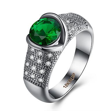 نساء خاتم مكعب زركونيا ترف زركون نحاس الصلب التيتانيوم تقليد الماس مجوهرات حزب يوميا فضفاض