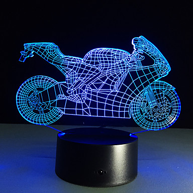 lampmotorcyclenightlightsled الجدول 3D الزخرفية المصنوعة من الزجاج لامبارا لوحة lumineuse السرير الالوان شمعة bulbing lampy