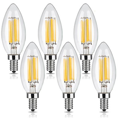 KWB 6pcs 6W 560lm E12 LED Filament Bulbs C35 6 LED Beads COB Dimmable Warm White 110-130V