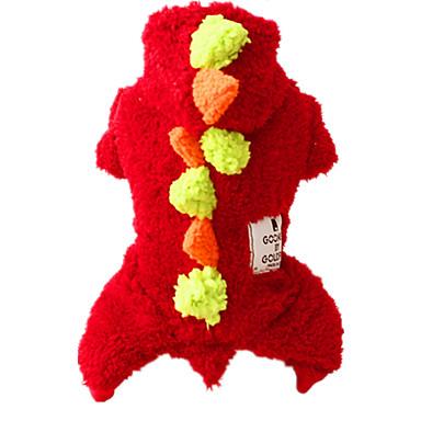 Pies Kombinezon Ubrania dla psów Urocza Codzienne Zatrzymujący ciepło Stały Czerwony