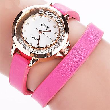 Kadın's Moda Saat Yüzer Kristal Saatler Bilezik Saat Quartz PU Bant Eski Tip Günlük Siyah Beyaz Mavi Kırmızı Kahverengi Gül