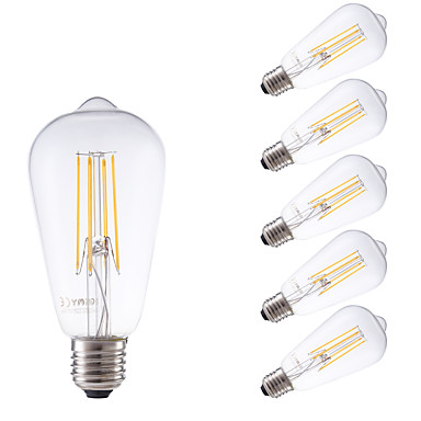 GMY® 6pcs 600lm E26 / E27 LED Filaman Ampuller ST58 4 LED Boncuklar COB Kısılabilir Dekorotif Sıcak Beyaz 220-240V