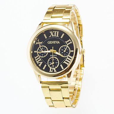Erkek Bilek Saati Quartz / Gündelik Saatler Paslanmaz Çelik Bant Günlük Altın Rengi