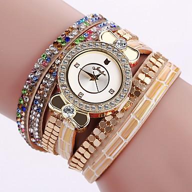 Bayanların Elbise Saat Moda Saat Bilek Saati Bilezik Saat Quartz Renkli PU Bant Eski Tip Işıltılı Şeker Bohem İhtişam Halhal Havalı Günlük