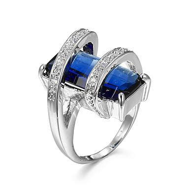 Žene Sapphire Kubični Zirconia Kruška Pasijans Prstenje za parove Prsten Izjave Prsten Zircon Kubični Zirconia Umjetno drago kamenje Ljubav dame Personalized Luksuz Moda Modno prstenje Jewelry Plava