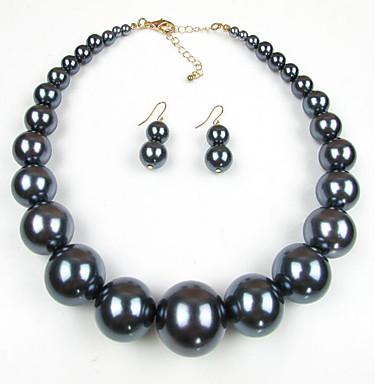 billige kolleksjon med mangefargede perler-Dame Perle Smykke Sett damer Europeisk Perle Imitert Perle Sorte perle øredobber Smykker Rød / Mørkerød / Svart / Hvit Til Daglig
