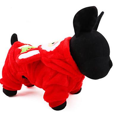 Pies Stroje Ubrania dla psów Codzienne Święta Bożego Narodzenia Kwiatowy/roślinny Coffee Czerwony Kostium Dla zwierząt domowych