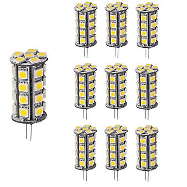 4W G4 LED Bi-pin Işıklar T 30 SMD 5050 360 lm Sıcak Beyaz Serin Beyaz Kısılabilir Dekorotif DC 12 V 10 parça