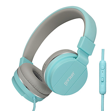 Gorsun GS-779 على الاذن عقال سلكي Headphones ديناميكي بلاستيك الهاتف المحمول سماعة مع التحكم في مستوى الصوت مع ميكريفون سماعة