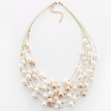 cheap Necklaces-Women's Choker Necklace Layered Floating Ladies European Fashion Multi Layer Pearl Imitation Pearl Alloy White Golden Necklace Jewelry For Party Daily Casual
