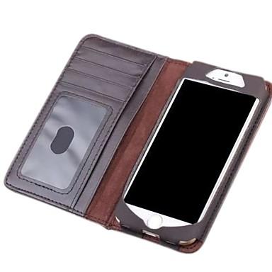 Para Capinha iPhone 6 / Capinha iPhone 6 Plus Carteira / Porta-Cartão / Flip Capinha Corpo Inteiro Capinha Cor Única Rígida Couro Legitimo