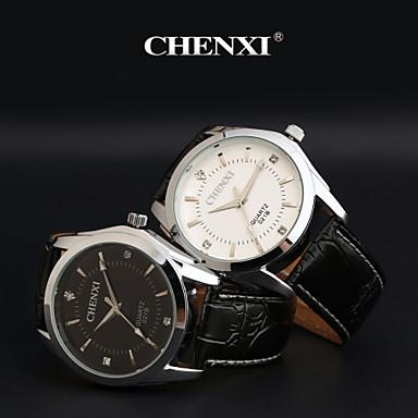 CHENXI® Masculino Relógio de Pulso Quartzo Quartzo Japonês Couro Banda Preta Branco Preto
