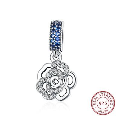 Damskie - Srebro standardowe, Cyrkon Róże, Kwiat Europejski Wisiorek Niebieski Na