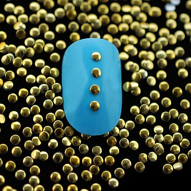100pcs dourada redonda pequena de metal rebite arte decoração de unhas 2 milímetros