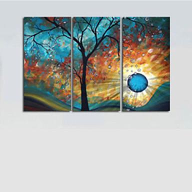 Pintados à mão Abstrato Horizontal Tela de pintura Pintura a Óleo Decoração para casa 3 Painéis