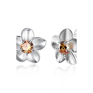 Γυναικεία Κουμπωτά Σκουλαρίκια Ζιρκονίτης Cubic Zirconia Χαλκός Επάργυρο Τριαντάφυλλα Λουλούδι Κοσμήματα Γάμου Πάρτι Καθημερινά Causal