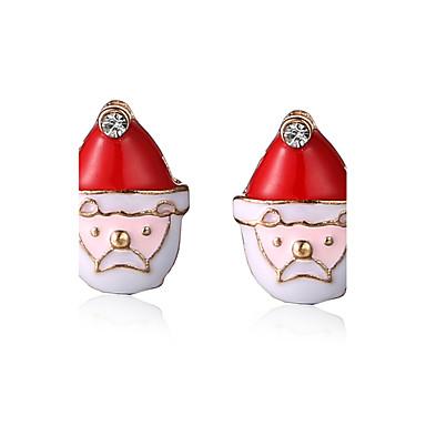 Κουμπωτά Σκουλαρίκια Κράμα Chrismas Άσπρο/Κόκκινο Κοσμήματα Πάρτι Καθημερινά Χριστουγεννιάτικα δώρα 1 ζευγάρι