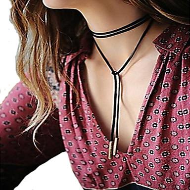 Жен. Кожа Ожерелья с подвесками  -  Мода Простой стиль европейский Черный Ожерелье Назначение Для вечеринок Повседневные
