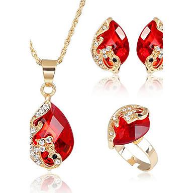 Damskie Zestawy biżuterii Kryształ Rhinestone Impreza Codzienny Casual Stop Paw Pierścionki 1 Naszyjnik 1 parę kolczyków