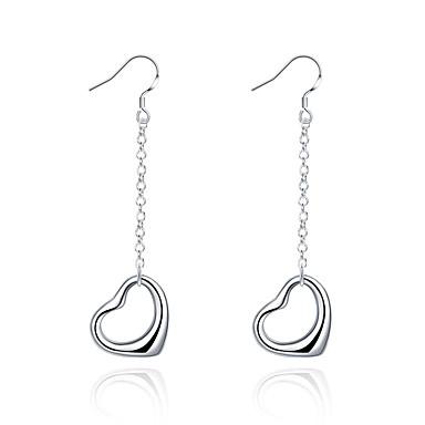Kadın Damla Küpeler Aşk minimalist tarzı Bakır Gümüş Kaplama Heart Shape Mücevher Uyumluluk Düğün Parti Günlük Spor