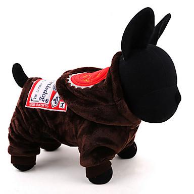 Pies Kombinezon Ubrania dla psów Codzienne Zatrzymujący ciepło Litera i numer Coffee Green Kostium Dla zwierząt domowych