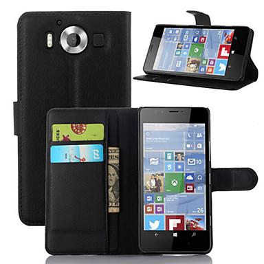 Για Θήκη Nokia Πορτοφόλι / Θήκη καρτών / με βάση στήριξης tok Πλήρης κάλυψη tok Μονόχρωμη Σκληρή Συνθετικό δέρμα NokiaNokia Lumia 950 /