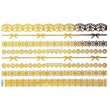 Séries de Jóias Tatuagem Adesiva - Estampado - para Feminino/Girl/Adulto/Adolescente - de Papel - Dourada - #(15x9) #(1)
