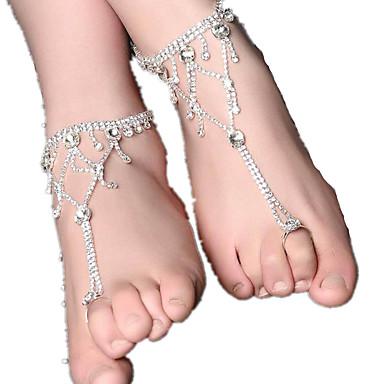 للمرأة خلخال حجر الراين سبيكة ترف موضة أوروبي خلخال فضي مجوهرات من أجل يوميا