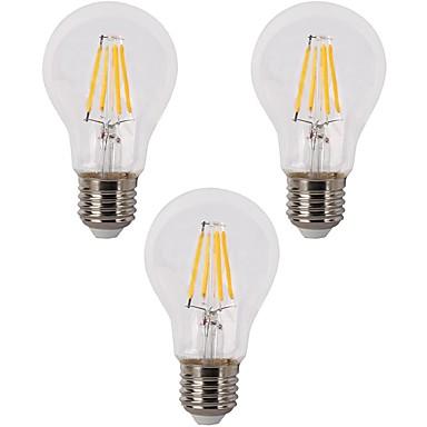 3pcs 3,5 W 400 lm E26/E27 LED Λάμπες Πυράκτωσης A60(A19) 4 leds COB Με ροοστάτη Θερμό Λευκό 110-120 AC 220-240V