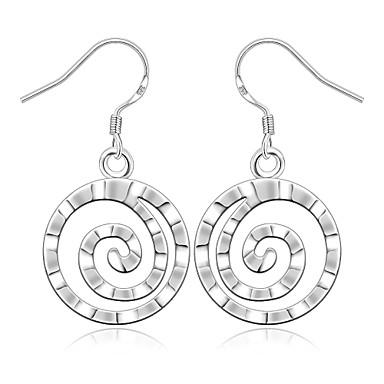 Damskie Kolczyki wiszące Miedź Posrebrzany Circle Shape Geometric Shape Biżuteria Impreza Codzienny Casual